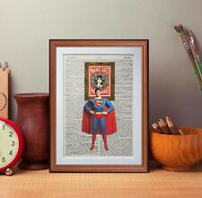 SuperMan Vs Obey Giant art dictionary page art print gift Literary gift quotes