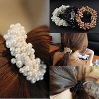 Women New Rhinestone Crystal Hair Band Rope Elastic Ponytail Holder Kit