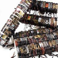 wholesale lots 100pcs mixed styles vintage alloy leather fashion cuff bracelets