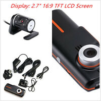 HD 1080P Dual Lens Dashboard Dash Car Auto Separate Rear Camera Night Vision DVR