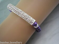 69a Colour Pearl Crystal Rhinestone Bar Bracelet Adult Childs Silver Gold Plated