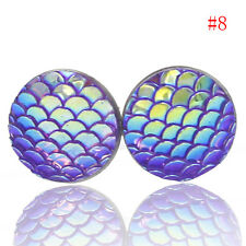 12mm Rainbow Mermaid Dragon ScaleStud Earrings Stainless Steel or Titanium Vogue