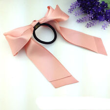 Fashion Women Lady Scrunchie Ponytail Holder Satin Ribbon Bow Hair Band Rope New