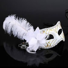 White Lace Feather Venetian Mask Halloween Ball Masquerade Party Dress Costume