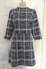 Retro 50s 60s 3/4 Sleeve A Line Flare skater grid check Dress UK 16 short length