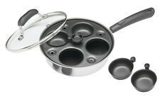 Kitchen Craft Induction Carbon Steel 4 Hole Egg Poacher Pan and Cups *