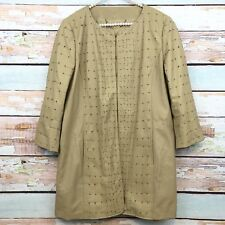 Elie Tahari Tan Leather Coat Jacket Patchwork Perforated Style Long Line Sz Lg