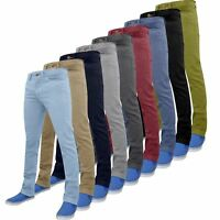 Mens Chino Trousers Slim Fit Cotton Regular Pants Casual Stretch Spandex Skinny