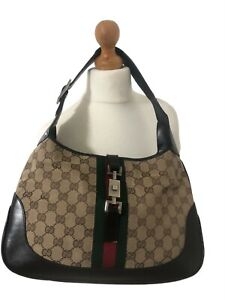 Authentic Gucci Vintage GG Supreme Jackie 1961 Hobo Canvas/Leather Shoulder Bag