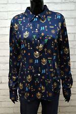 TOMMY HILFIGER Donna Camicia Camicetta Blu Blusa Taglia L Shirt Women's Fantasy