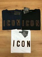 DSQUARED2 Icon Men T-Shirt Short Sleeves 100% Cotton Embroidered ICON Logo G/L