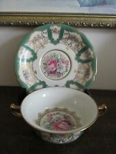 Rosenthal Ivory Bavaria Germany Creame Soup Bowl And Saucer Green Gold Flowers