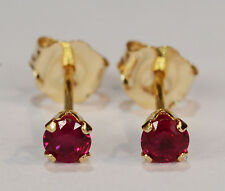 BEENJEWELED PETITE GENUINE MINED SOUTHEAST ASIAN RUBY EARRINGS~14 KT YLW GLD~3MM