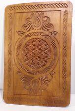 Joli panneau bois ethnique sculpté, 28 cm x 19 cm