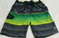 Men's Zero Xposure Black Green Swim Trunks Board Shorts Size Medium A-10
