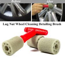 Auto Lug Nut Wheel Cleaning Detailing Brush W/Handle&Removable Insert Sponge Kit