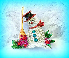 FROSTY THE SNOWMAN RHINESTONE & ENAMEL SILVER PIN BROOCH~CHRISTMAS GIFT FOR HER