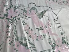 Vtg Antique Bedspread Putti Cherubs Roses PINK Cream Fringe Italy UNUSED 110X98
