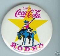 old COCA-COLA pin pinback button RODEO cowboy horse