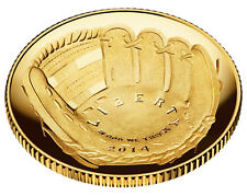 2014 NATIONAL BASEBALL PROOF HALL OF FAME $5 GOLD DOLLAR W/BOX @ COA