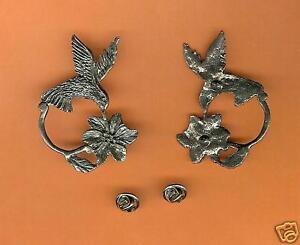 4 wholesale pewter hummingbird eyeglass pins E5119