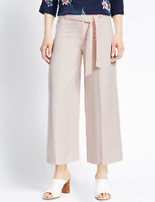 M&S Blush Cropped Belted Wide Leg Trousers Size 20 Long BNWT