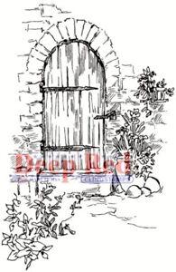 Deep Red Stamps Garden Doorway Rubber Cling Stamp