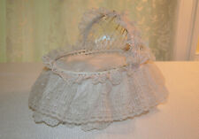 Vintage Small Baby White Wicker Bassinet