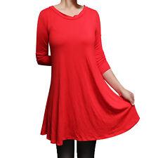 USA Women's Boatneck 3/4 Sleeve Tunic Top Dress Shirt Blouse S M L 1X 2X 3X Plus