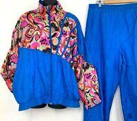 Vintage Sunterra Womens Track Suit Windbreaker Jacket Pants Blue Paisley Size L