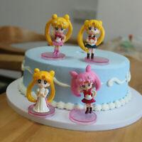 "Sailor Moon Tsukino Usagi Cute 2.5"" Mini Figures 4 Pcs Cake Topper Car Decor Set"