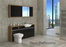 OAK / BLACK GLOSS BATHROOM FITTED FURNITURE WITH WALL UNITS 1700MM