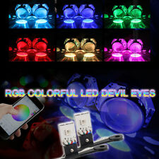 RGB LED Devil Eyes Bluetooth App Control For Headlight Projector Lens Retrofit