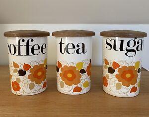 Set of 3 Vintage Retro Crown Devon Storage Jars Coffee Tea Sugar orange flowers