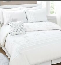 280TC White Pintuck Ruffle Flora Embroidery * QUEEN QUILT DOONA COVER SET *