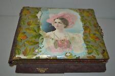 Antique Victorian Music Box (Working) Photo Album Celluloid Jewelry Drawer