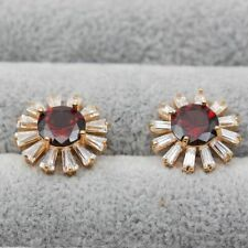 18K Yellow Gold Filled Earrings Red white cameo Sunflower Big Ear Stud Wedding