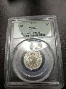 1882 Shield Nickel PCGS MS 63 Older Green Holder