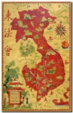 Vintage Old World Map Vietnam Indochina CANVAS PRINT poster A3