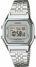 Casio Ladies Digital Day & Date Stainless Steel Watch, Silver, LA680WA-7D