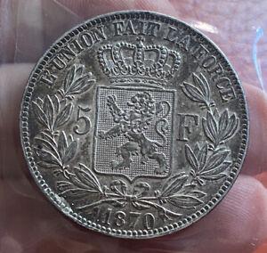 Belgium 5 Francs 1870 Superb AUNC