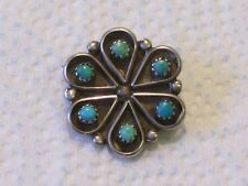 VINTAGE ZUNI PETTI POINT TURQUOISE & STERLING SILVER PIN