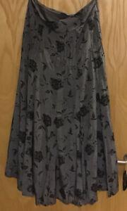 BNWTS PER UNA Skirt Silver Grey & Black Sz 16 L Swishy Smart Party Evening Long