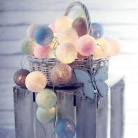 Vintage Pastel LED Cotton Ball String Lights Warm Tone Bedroom Decor Night Light