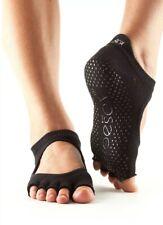 (Medium, Black) - toesox Women's Bellarina Half Toe Grip Non-Slip for Ballet,
