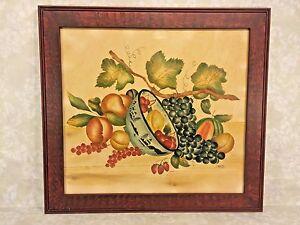 Vtg DeVerter Theorem of Vine & Bowl of Fruit 1986 Faux Grained Framed