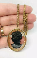 Beautiful Large Black Glass Cameo Necklace Filigree Frame Vintage Jewelry