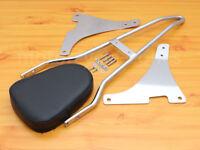 Detachable Sissy Bar Backrest Cushion Pad Chrome For Harley Sportster XL883 1200