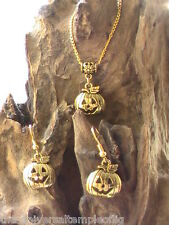 HALLOWEEN PUMPKIN NECKLACE AND EARRING SET 18K GOLD PLATED, Samhain spooky dead