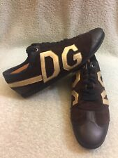 Dolce Gabbana Suede Brown Gold men sneakers Size Us 12 Style 0007
